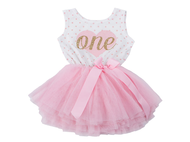Pink Heart Gold Script Pink Polka Dot Tutu Dress - (Second Birthday Dress - Second Birthday Outfit)