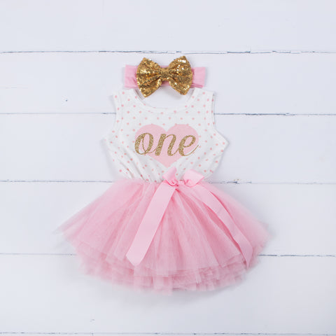 1st Birthday Outfit Pink Heart/Gold