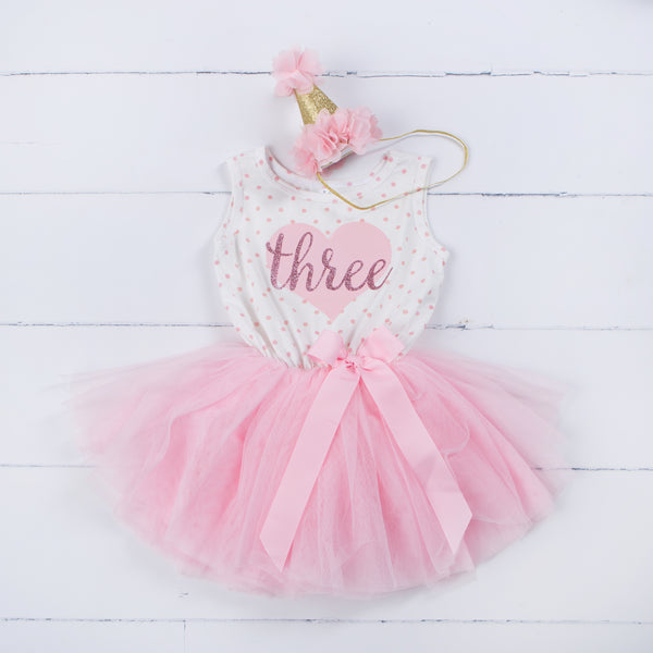 "3rd Birthday Outfit Pink Heart Gold ""THREE"" Pink Polka Dot Sleeveless Tutu Dress & Pink Party Hat - Grace and Lucille"