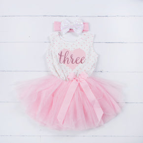 "3rd Birthday Outfit Pink Heart/Gold ""THREE"" Polka Dot Sleeveless Tutu Dress, Opalescent Bow Headband - Grace and Lucille"