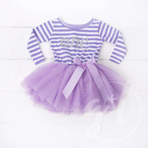 "1st Birthday Dress Silver Script ""ONE"" Purple Striped Long Sleeve - Grace and Lucille"