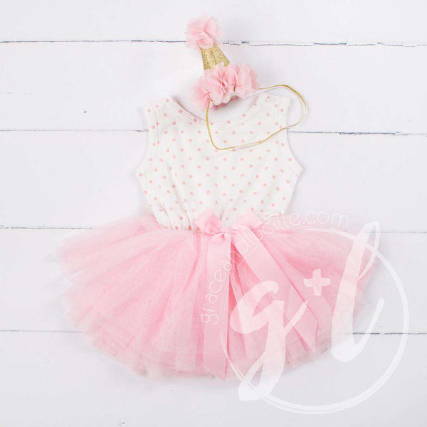 Party Outfit Pink Polka Dot Sleeveless Dress with attached Pink Tutu and Pink Princess Party Hat - Grace and Lucille