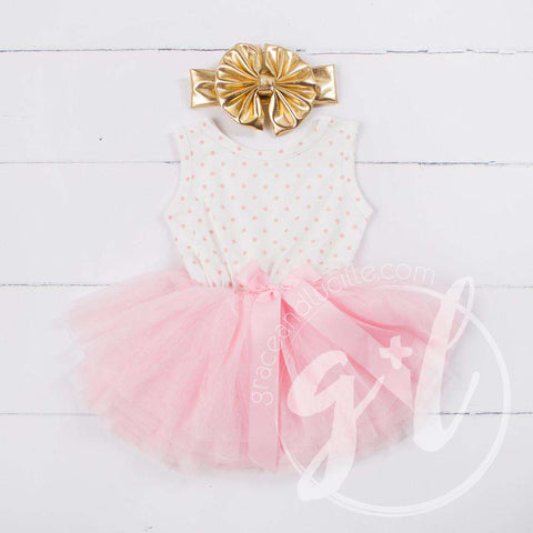 Party Outfit Pink Polka Dot Sleeveless Tutu Dress & Gold Lame Bow Headband