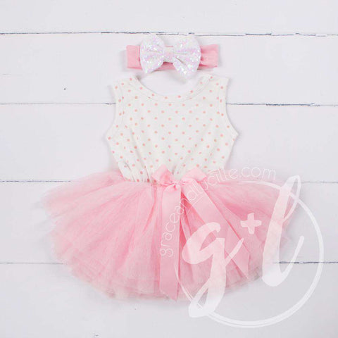 Party Outfit Pink Polka Dot Sleeveless Tutu Dress & Opalescent Bow Headband