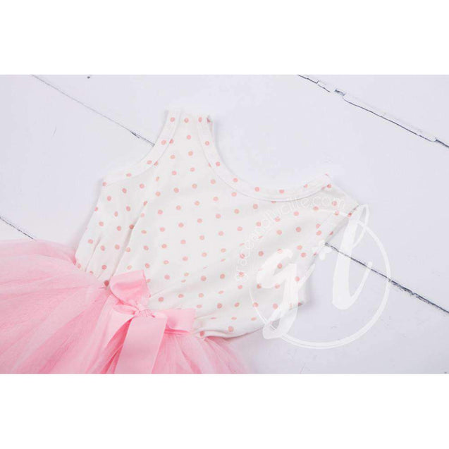 Party Outfit Pink Polka Dot Sleeveless Tutu Dress & Gold Lame Bow Headband - Grace and Lucille