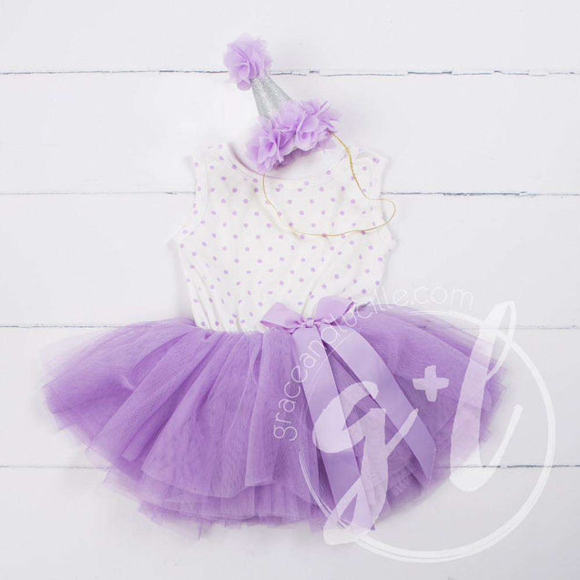 Party Outfit Purple Polka Dot Sleeveless Tutu Dress & Purple Princess Party Hat - Grace and Lucille
