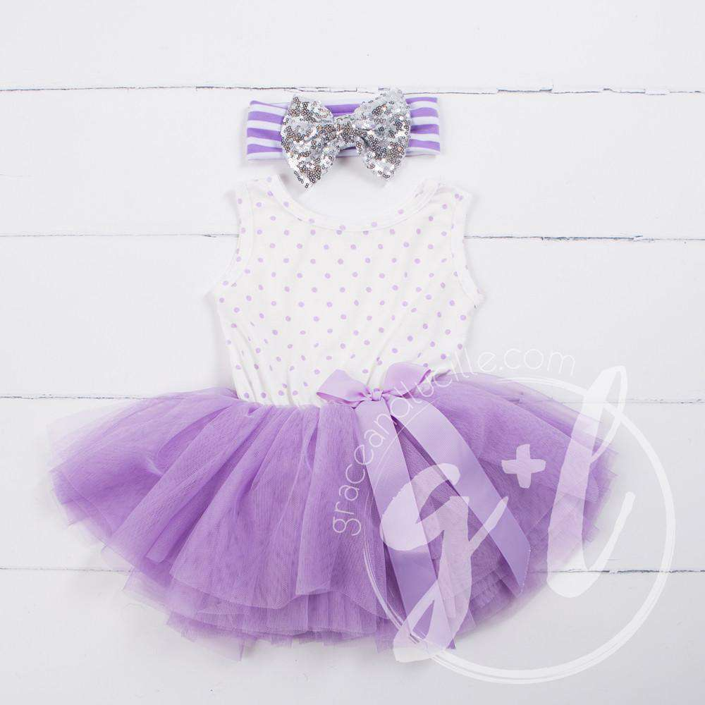 Party Outfit Purple Polka Dot Sleeveless Tutu Dress & Silver Sequin Bow on Purple Stripe Headband - Grace and Lucille