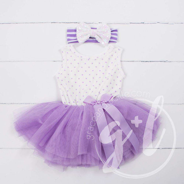 Party Outfit Purple Polka Dot Sleeveless Tutu Dress & Opalescent Bow Headband - Grace and Lucille