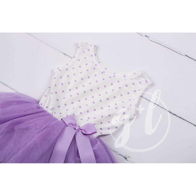Party Outfit Purple Polka Dot Sleeveless Tutu Dress with Princess Party Hat - Grace and Lucille