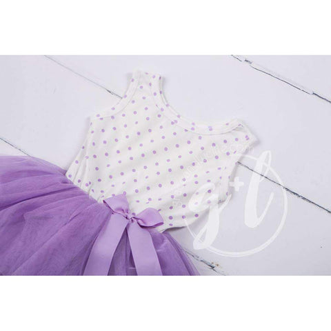 Party Outfit Purple Polka Dot Sleeveless Tutu Dress & Silver Sequin Bow on Purple Stripe Headband