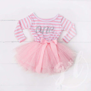 "1st Birthday Dress Silver Script ""ONE"" Pink Striped Long Sleeved - Grace and Lucille"