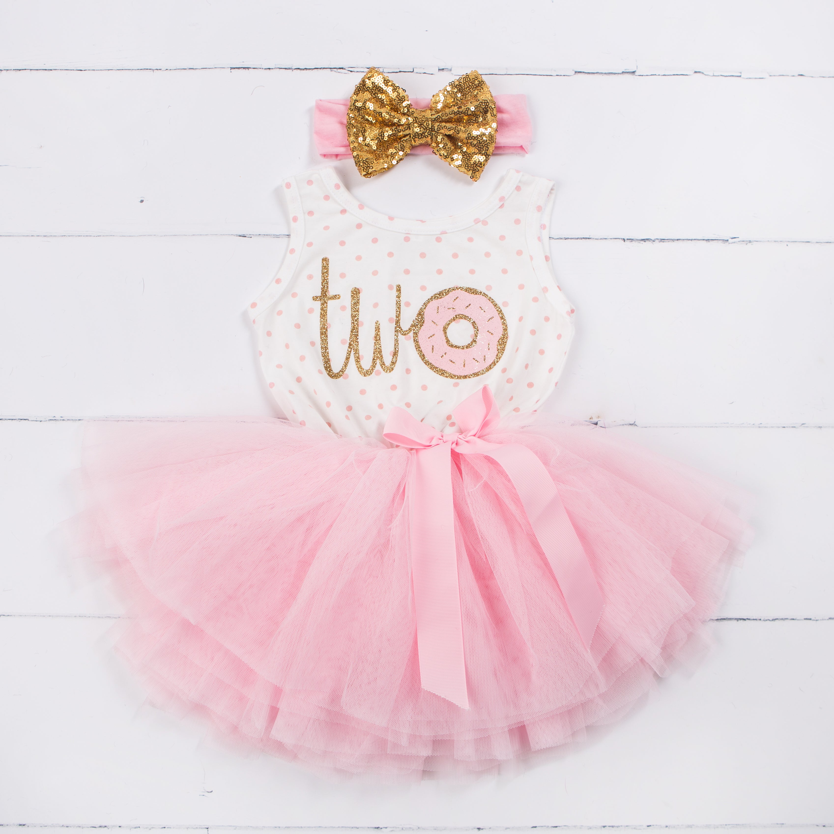 "2nd Birthday Outfit Donut ""TWO"" Pink Polka Dot Sleeveless Tutu Dress & Gold Sequin Bow Headband - Grace and Lucille"