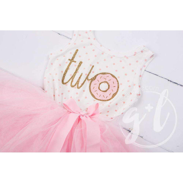 "2nd Birthday Outfit Donut ""TWO"" Pink Polka Dot Sleeveless Tutu Dress & Gold Bow Headaband - Grace and Lucille"