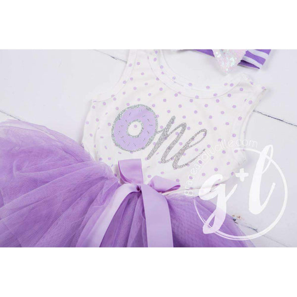 "1st Birthday Outfit, Donut ""ONE"" Purple Polka Dot Sleeveless Tutu Dress, Silver Sequin Bow Headband - Grace and Lucille"