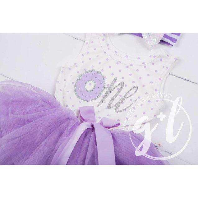 "1st Birthday Outfit Donut ""One"" Purple Polka Dot Sleeveless Tutu Dress & Purple Princess Party Hat - Grace and Lucille"