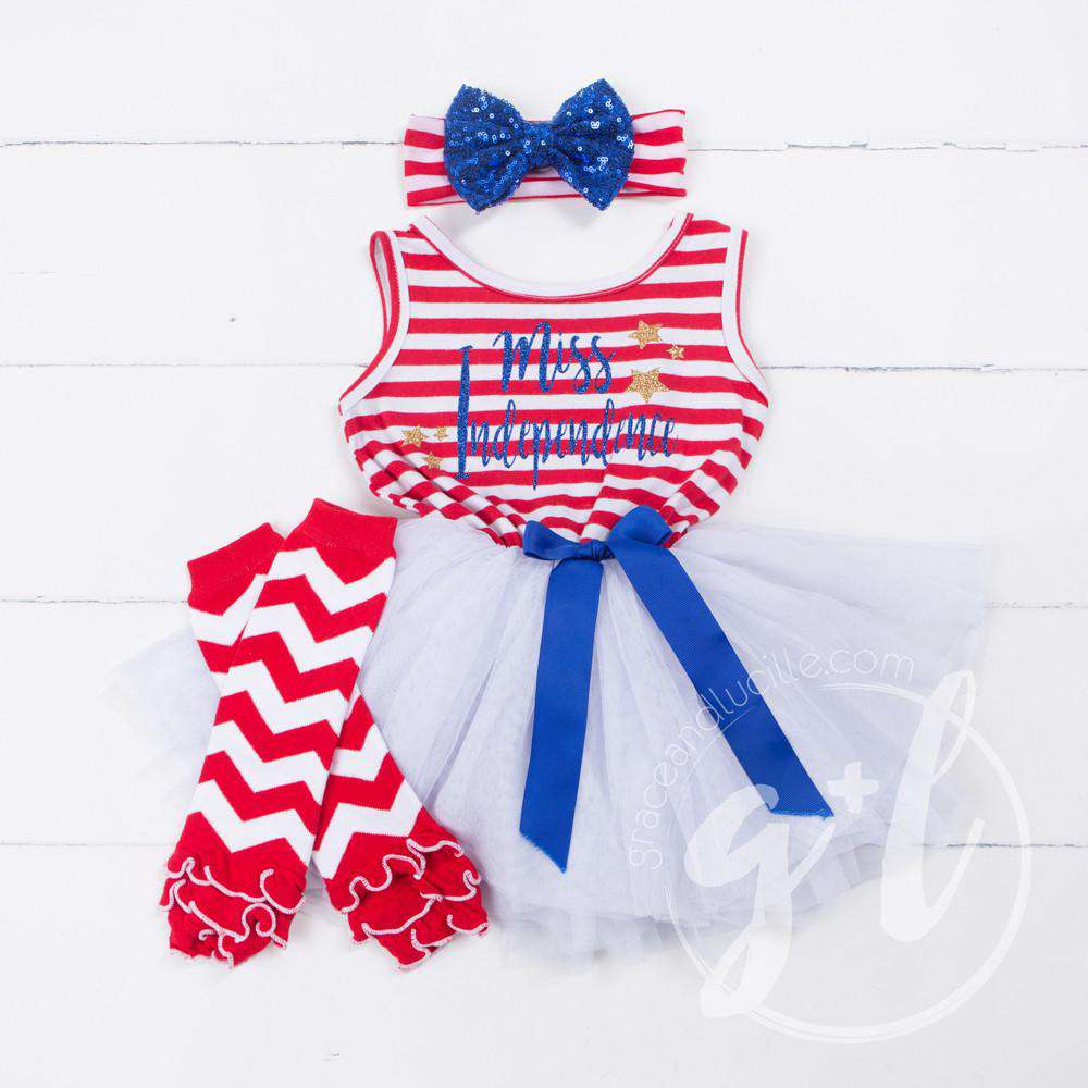 "4th of July ""MISS INDEPENDENCE"" Red Striped Sleeveless Dress - Grace and Lucille"