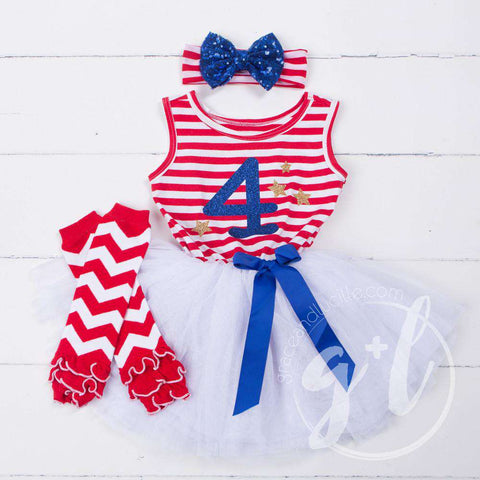 "4th of July ""4""Outfit, Red Striped Sleeveless Dress, Chevron Leg Warmers & Blue Sequin Bow Headband - Grace and Lucille"