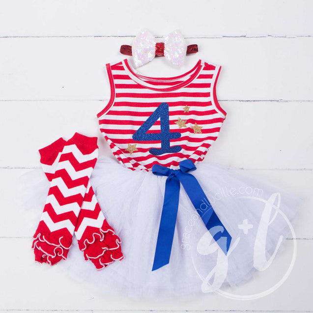 "4th of July ""4"" Outfit, Red Stripe Sleeveless Dress, Chevron Leg Warmers & White Sequin Bow/Belt - Grace and Lucille"