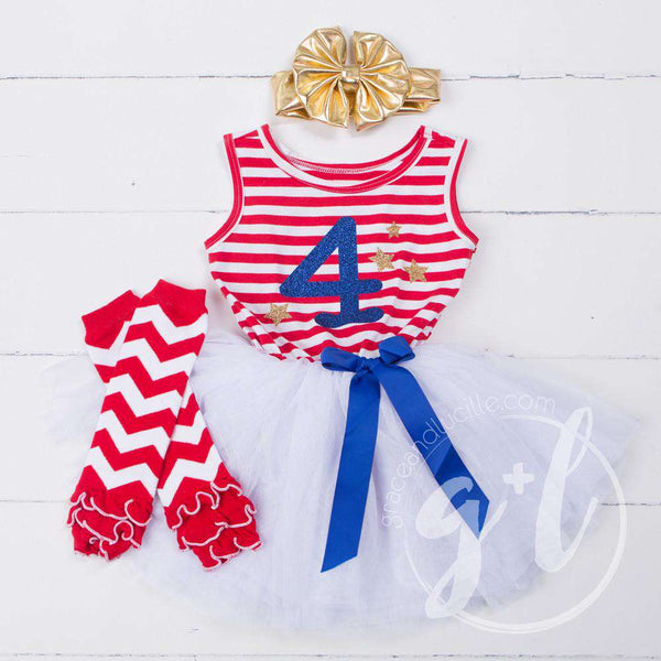 "4th of July ""4"" Red Striped Sleeveless Dress with Chevron Leg Warmers & Gold Bow - Grace and Lucille"