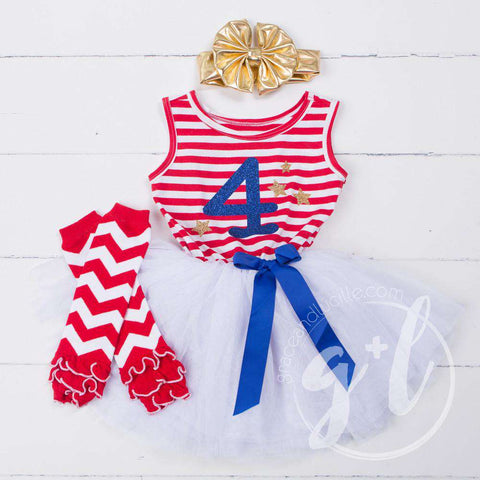 "4th of July ""4"" Red Striped Sleeveless Dress with Chevron Leg Warmers & Gold Bow"