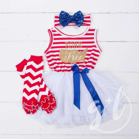 """Born Free"" Gold USA  4th of July Red Stripe Sleeveless Dress, Leg Warmers & Blue Bow Headband - Grace and Lucille"