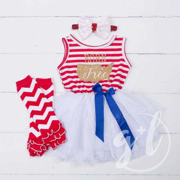 """Born Free"" Gold Outfit USA 4th of July Red Stripe Sleeveless Dress, Leg Warmers & White Bow/Belt"