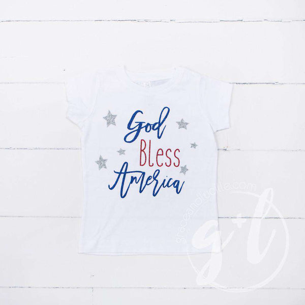 """God Bless America"" 4th of July Tee Shirt Outfit & Silver Sequin Bow on Black Headband/Belt - Grace and Lucille"