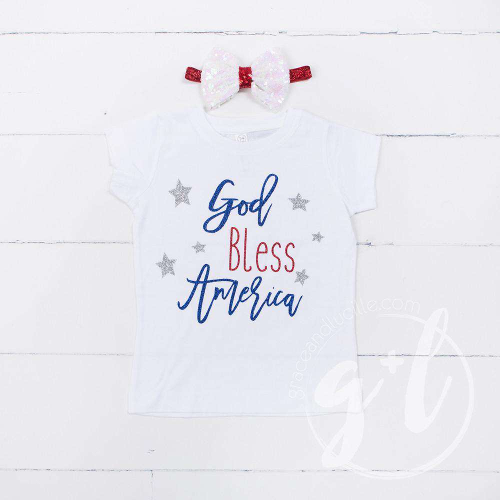 """God Bless America"" 4th of July Tee Shirt Outfit &  White Sequin Bow on Red Two-in-One Headband/Belt"