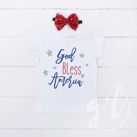 """God Bless America"" 4th of July Tee Shirt Outfit & Red Sequin Bow on Black Two-in-One Headband/Belt"