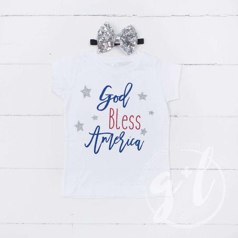 """God Bless America"" 4th of July Tee Shirt Outfit & Silver Sequin Bow on Black Headband/Belt"