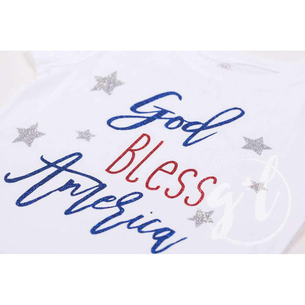 """God Bless America"" 4th of July Tee Shirt Outfit &  White Sequin Bow on Red Two-in-One Headband/Belt - Grace and Lucille"