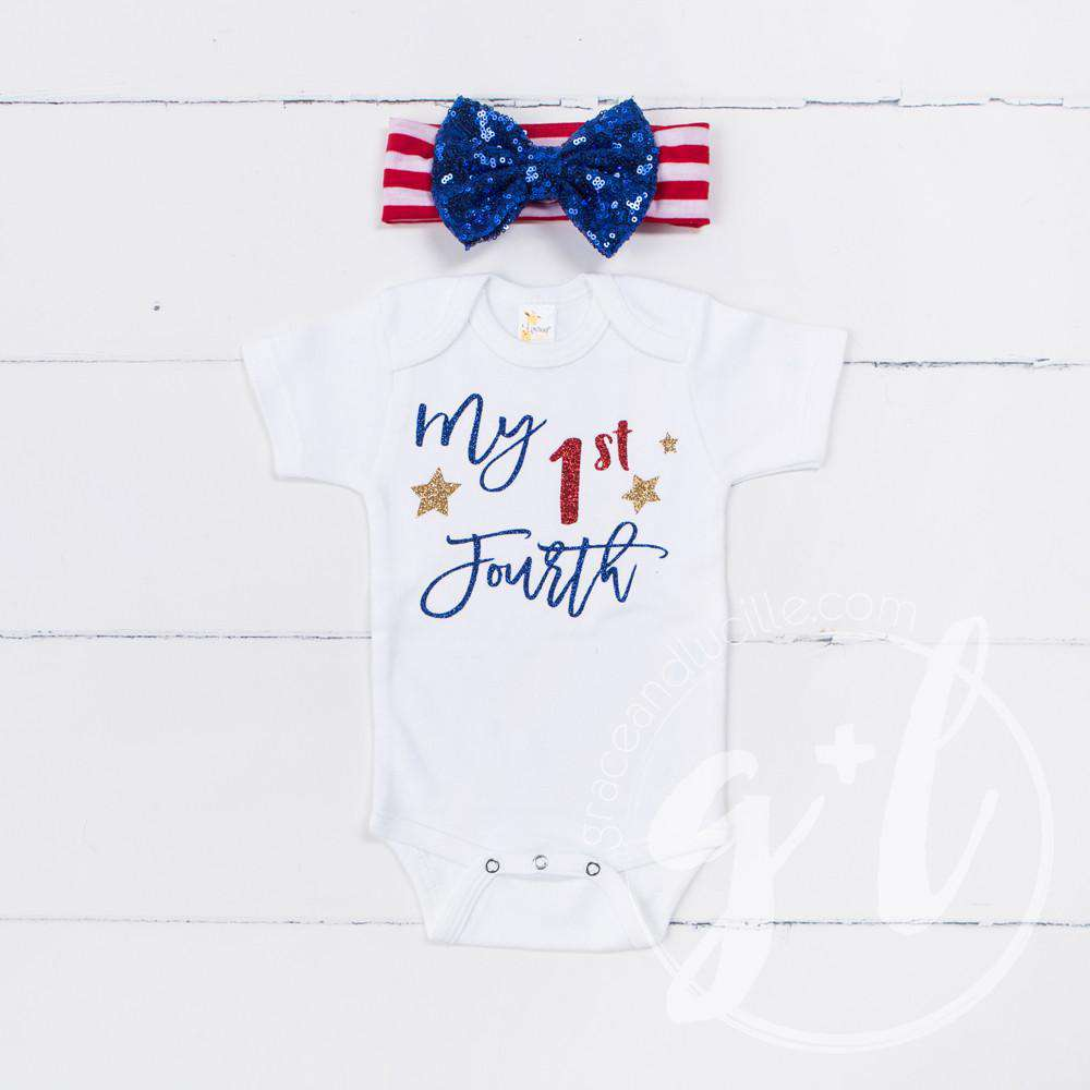 """My 1st FOURTH"" 4th of July Onesie Combo Outfit & Blue Sequin Bow on Red Stripe Headband - Grace and Lucille"
