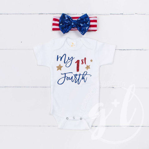 """My 1st FOURTH"" 4th of July Onesie Combo Outfit & Blue Sequin Bow on Red Stripe Headband"