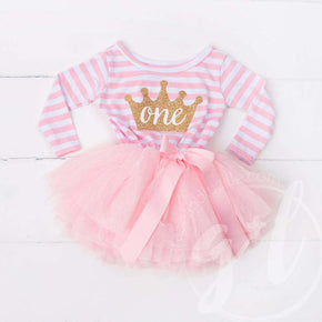 "1st Birthday Dress Gold Crown ""ONE"" Pink Stripe Long Sleeves - Grace and Lucille"