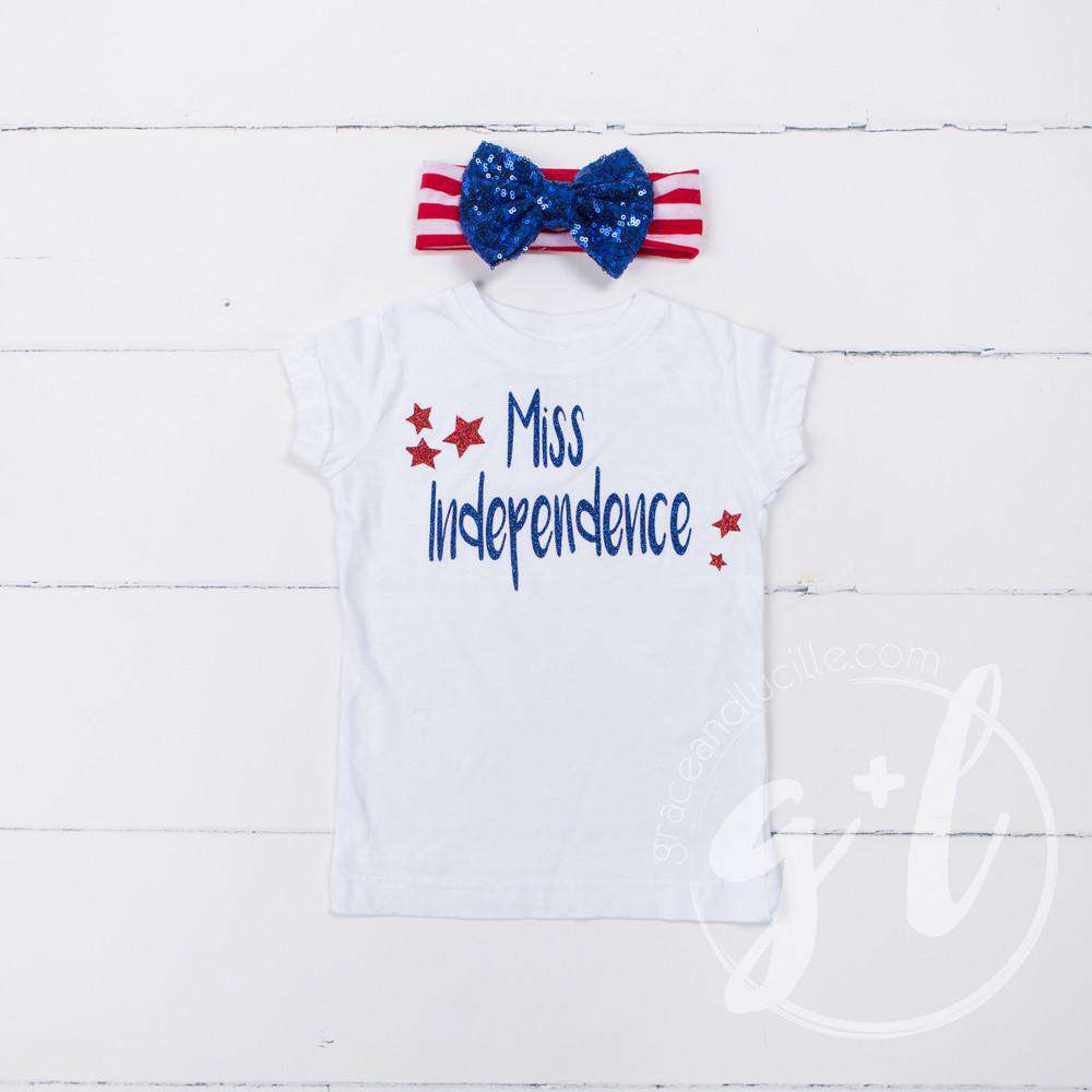 """Miss Independence"" 4th of July Tee Shirt Outfit &  Blue Sequin Bow on Red Stripe Headband"