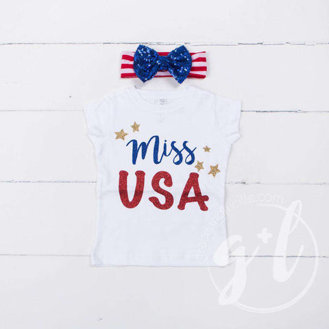 """Miss USA"" 4th of July Tee Shirt Outfit &  Blue Sequin Bow on Red Stripe Headband"