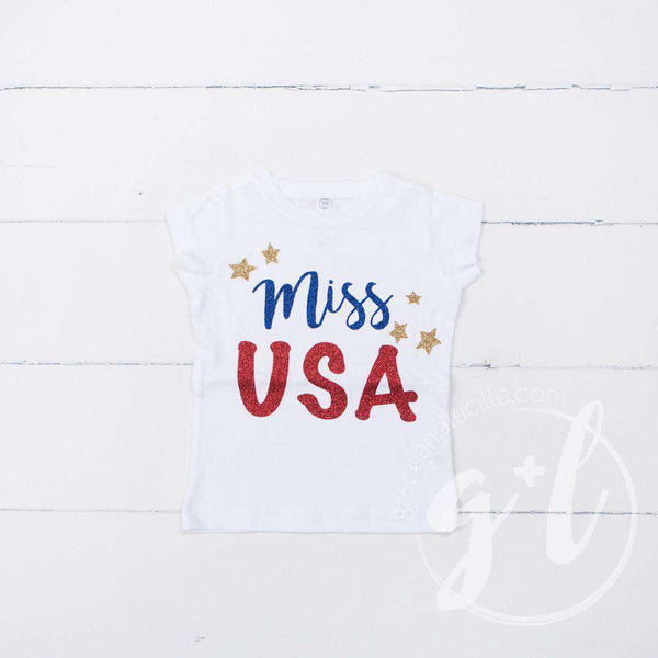 """Miss USA"" 4th of July Tee Shirt Outfit &  Blue Sequin Bow on Red Stripe Headband - Grace and Lucille"