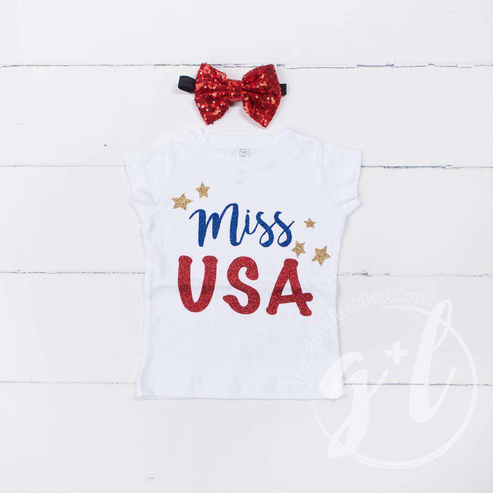 """Miss USA"" 4th of July Tee Shirt Outfit &  Red Sequin Bow on Black Two-in-One Headband/Belt - Grace and Lucille"