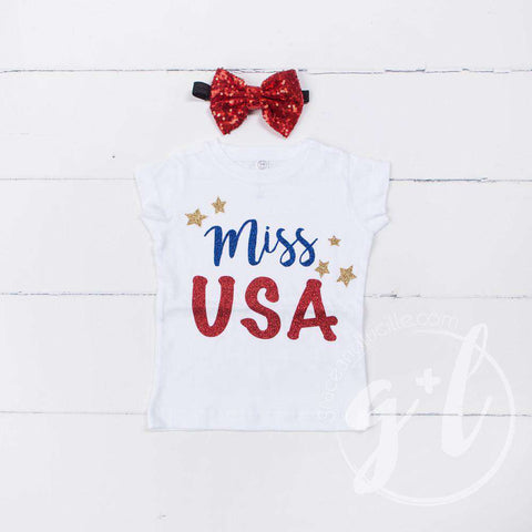 """Miss USA"" 4th of July Tee Shirt Outfit &  Red Sequin Bow on Black Two-in-One Headband/Belt"