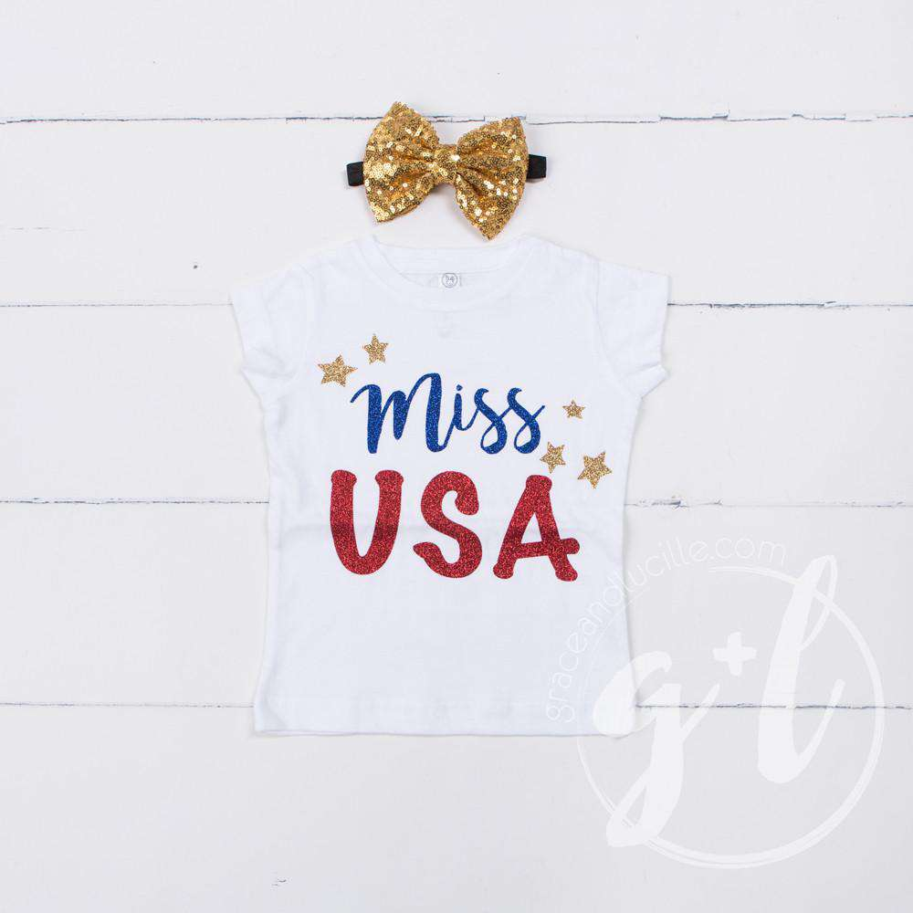 """Miss USA"" 4th of July Tee Shirt Outfit & Gold Sequin Bow on Black Two-in-One Headband/Belt - Grace and Lucille"