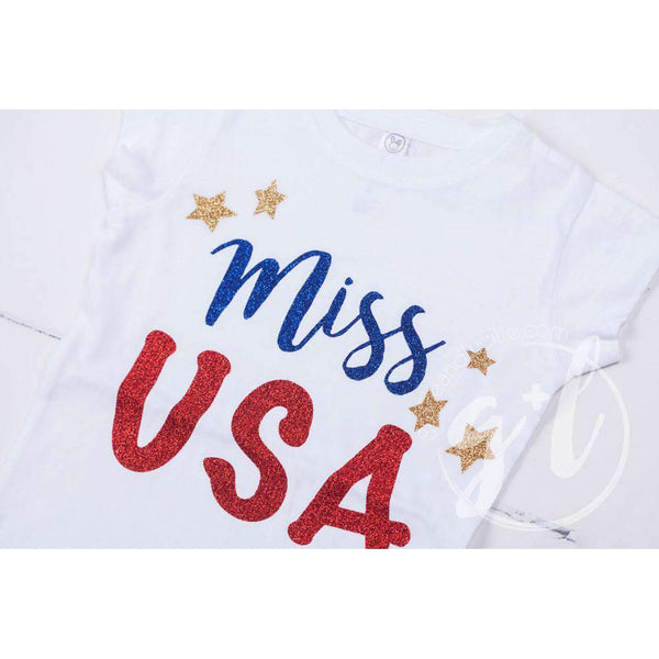 """Miss USA"" 4th of July Tee Shirt Outfit & Gold Sequin Bow on Black Two-in-One Headband/Belt"
