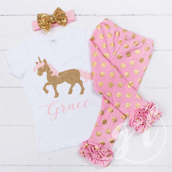 Prancing Unicorn Personalized Tee Shirt, Polka Dot Leggings & Gold Bow Headband Outfit - Grace and Lucille