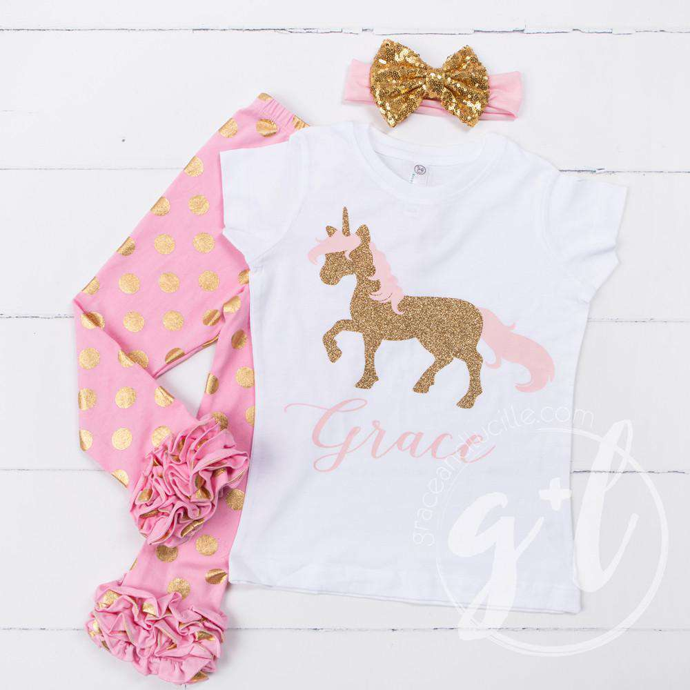 Prancing Unicorn Personalized Tee Shirt, Polka Dot Leggings & Gold Bow Headband Outfit