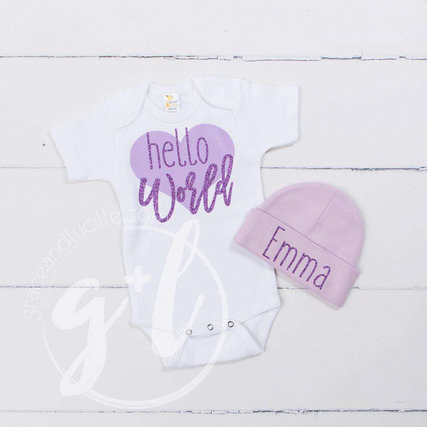 """Hello World"" Purple Heart Onesie & Purple Beanie with ""Her Name"", Welcome Home Outfit - Grace and Lucille"