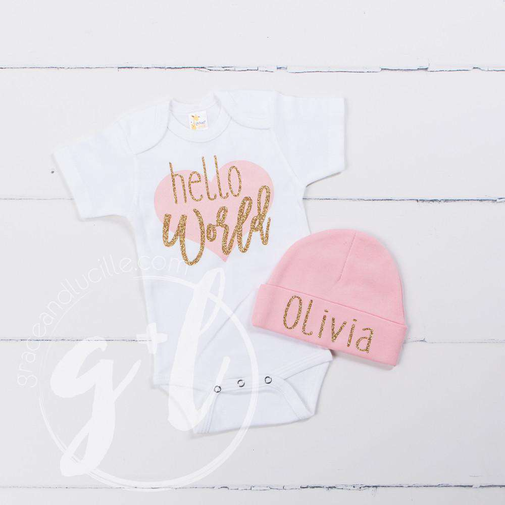 """Hello World"" Pink Heart Onesie & Pink Beanie with ""Her Name"", Welcome Home Outfit - Grace and Lucille"