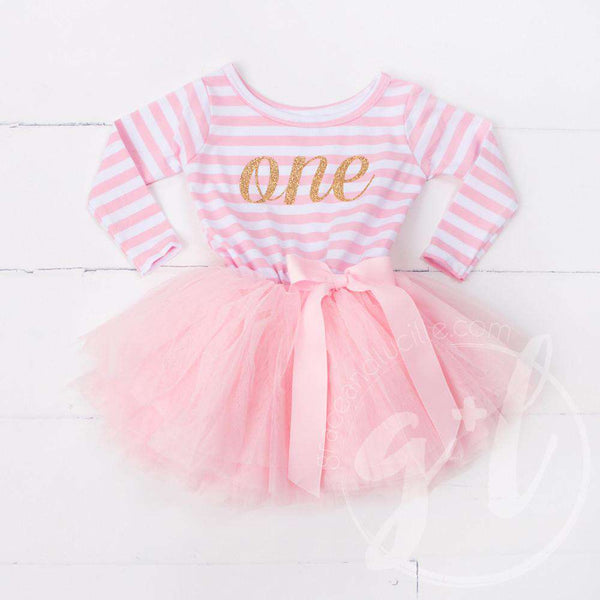 "1st Birthday Dress Gold Script ""ONE"" Pink Striped Long Sleeves - Grace and Lucille"