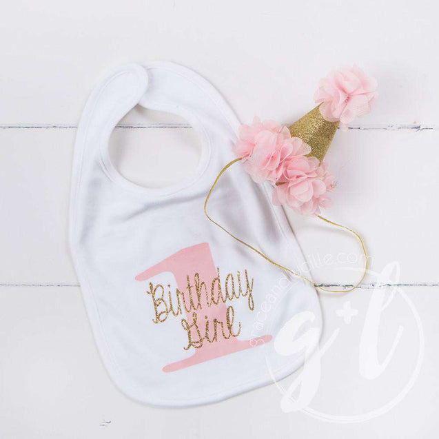 First Birthday Bib & Princess Party Hat Set, Sparkly Gold and Pink - Grace and Lucille