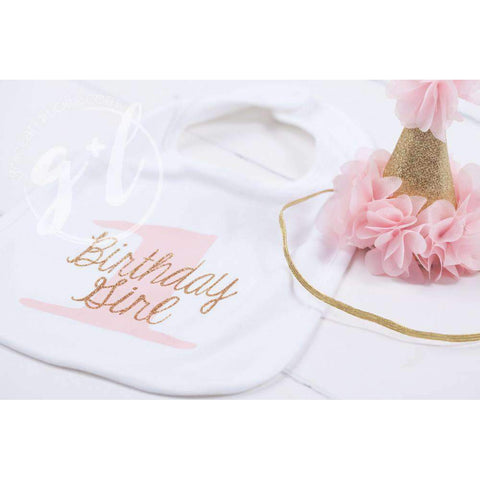 First Birthday Bib & Princess Party Hat Set, Sparkly Gold and Pink