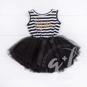 Big Sis Dress Gold Script Black Striped Sleeveless Tutu Dress - Grace and Lucille