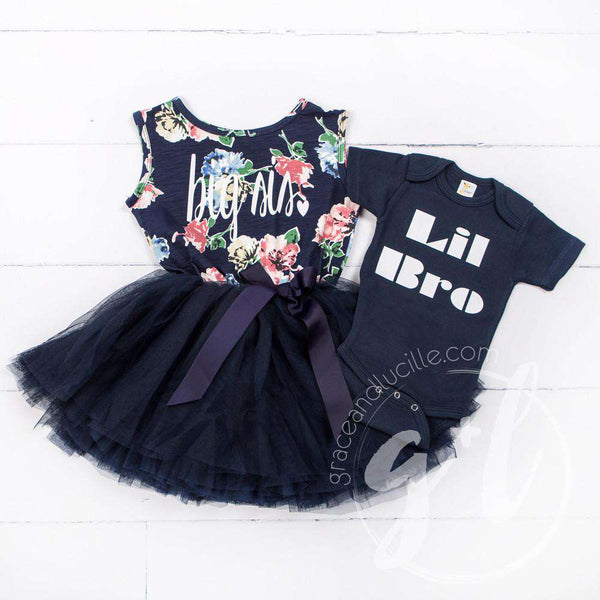 Big Sis Navy Floral Sleeveless Tutu Dress, white lettering - Grace and Lucille